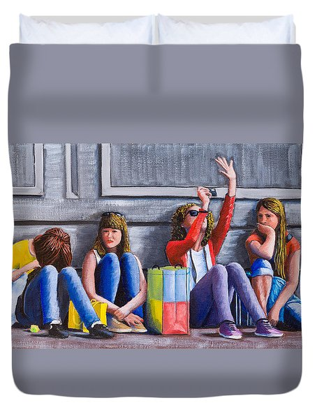 Girls Waiting For Ride Duvet Cover