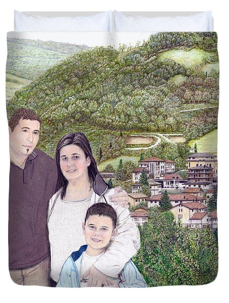 Duvet Cover featuring the painting Giusy Mirko And Simone In Valle Castellana by Albert Puskaric