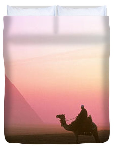 Giza Pyramids Egypt Duvet Cover by Panoramic Images