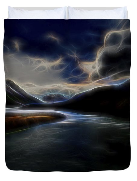 Duvet Cover featuring the digital art Glacial Light 1 by William Horden
