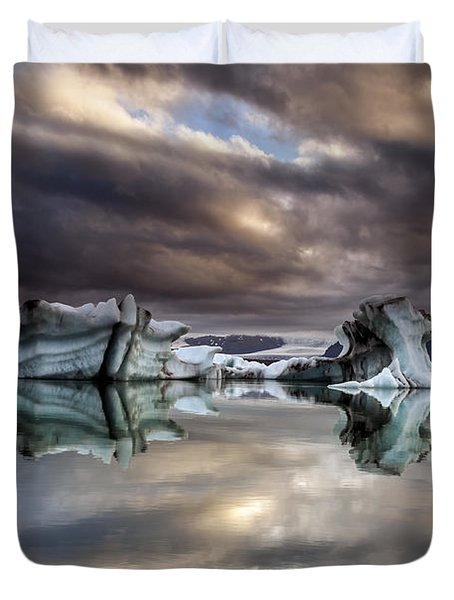 Glacier In Water Duvet Cover