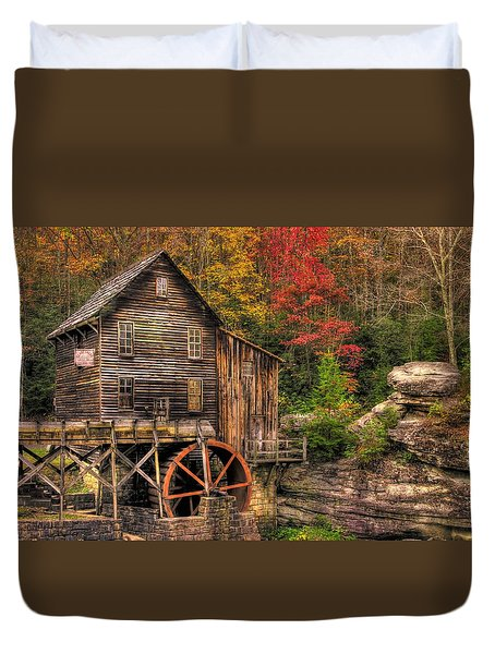 Glade Creek Grist Mill-1a Babcock State Park Wv Autumn Late Afternoon Duvet Cover