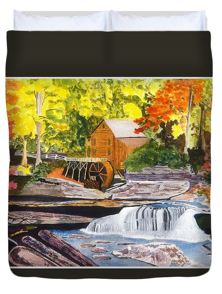 Glade Creek Grist Mill Duvet Cover by David Bartsch