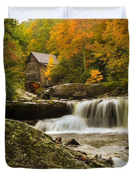 Glade Creek Grist Mill Duvet Cover by Shane Holsclaw