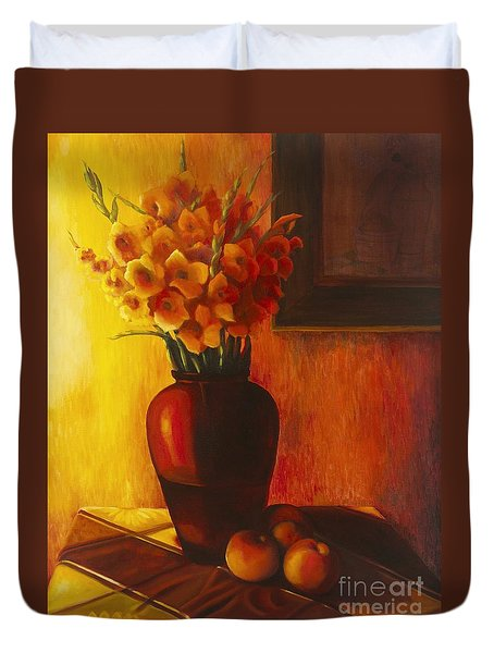Gladioli Red Duvet Cover by Marlene Book