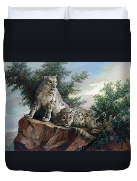 Duvet Cover featuring the painting Glamorous Friendship- Snow Leopards by Svitozar Nenyuk