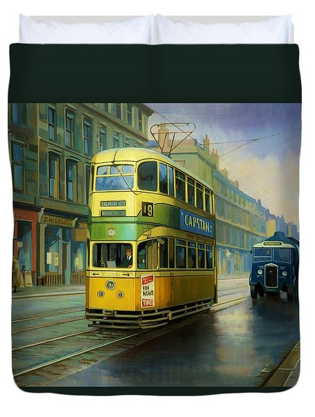 Glasgow Tram. Duvet Cover by Mike  Jeffries