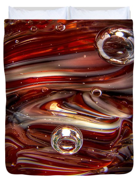 Glass Macro Abstract Crimson And Gray IIi Duvet Cover by David Patterson
