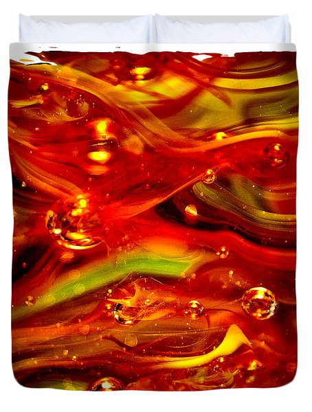 Glass Macro Abstract Rf1ce Duvet Cover by David Patterson