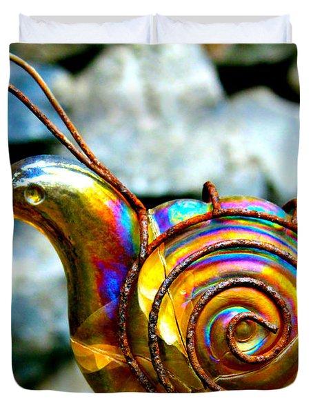 Glass Snail Garden Art Duvet Cover by Karon Melillo DeVega