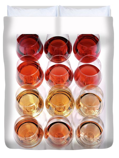Glasses Of Rose Wine Duvet Cover by Romulo Yanes