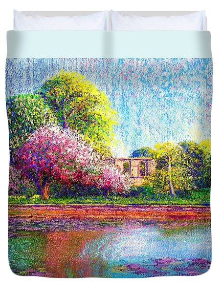 Glastonbury Abbey Lily Pool Duvet Cover by Jane Small