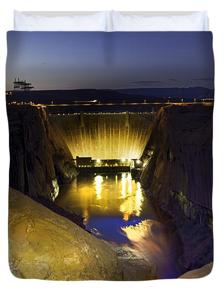 Glen Canyon Dam At Night Duvet Cover