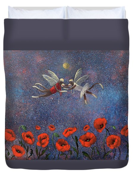 Glenda The Good Witch Has Flying Monkeys Too Duvet Cover by Randy Burns