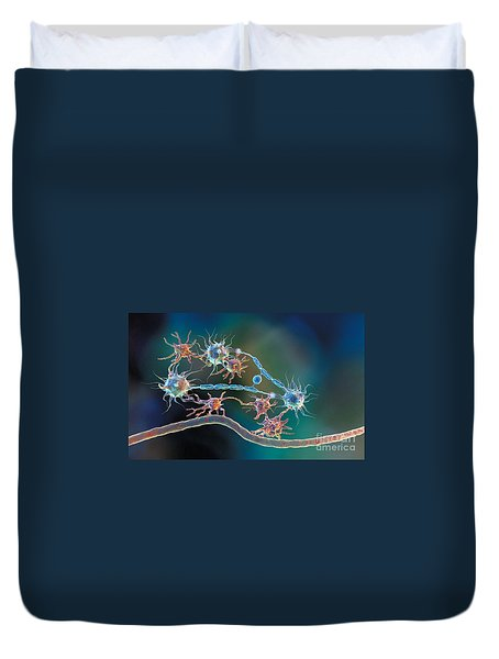 Glia And Neurons Duvet Cover