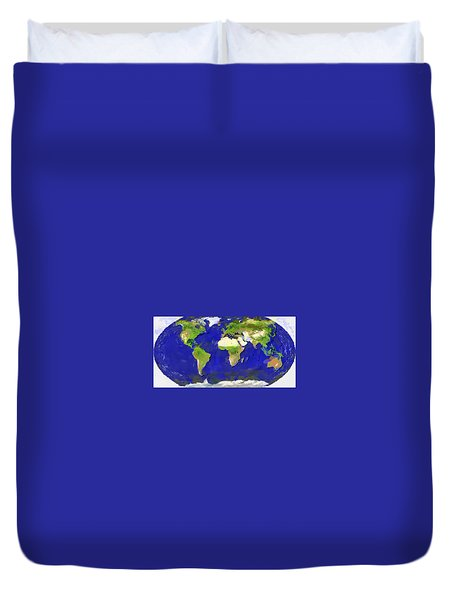 Duvet Cover featuring the painting Global Map Painting by Georgi Dimitrov
