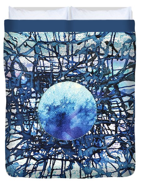 Duvet Cover featuring the painting Global Net by Joan Hartenstein
