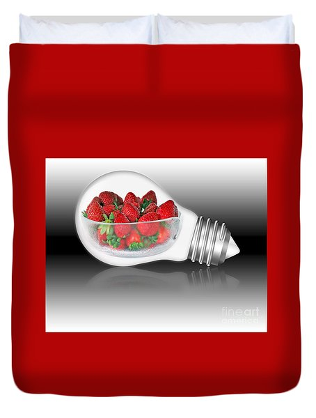 Global Strawberries Duvet Cover by Kaye Menner