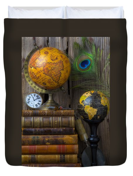 Globes And Old Books Duvet Cover by Garry Gay