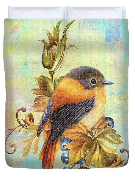 Glorious Birds On Aqua-a2 Duvet Cover by Jean Plout