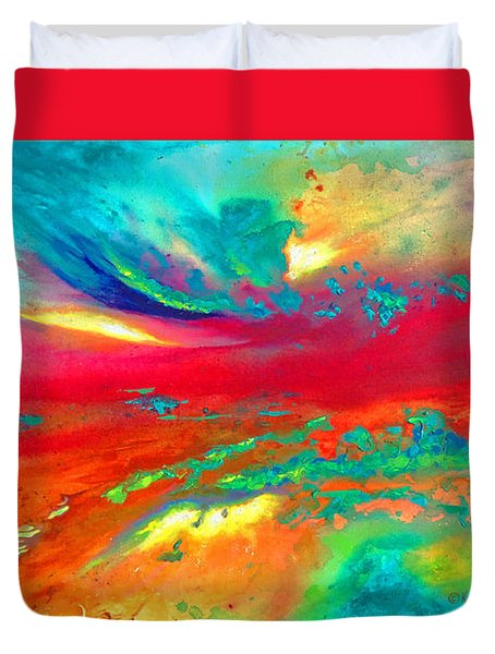 Duvet Cover featuring the painting Glorious Day by Karen Kennedy Chatham