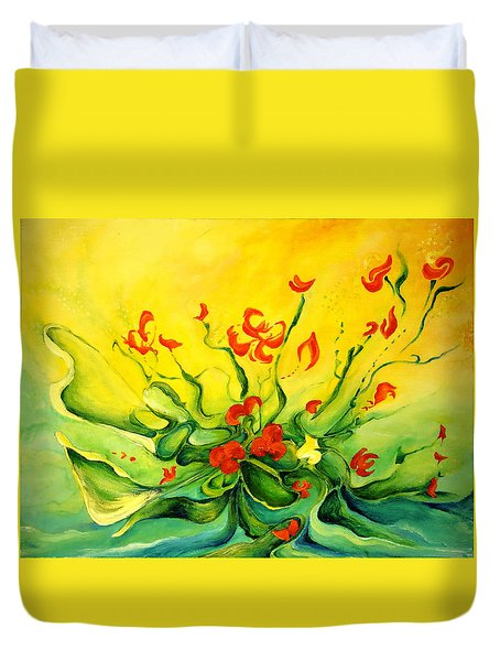 Duvet Cover featuring the painting Glorious by Teresa Wegrzyn