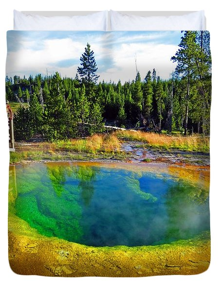 Glory Pool Yellowstone National Park Duvet Cover