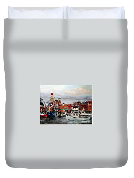 Gloucester Harbor Duvet Cover by Eileen Patten Oliver