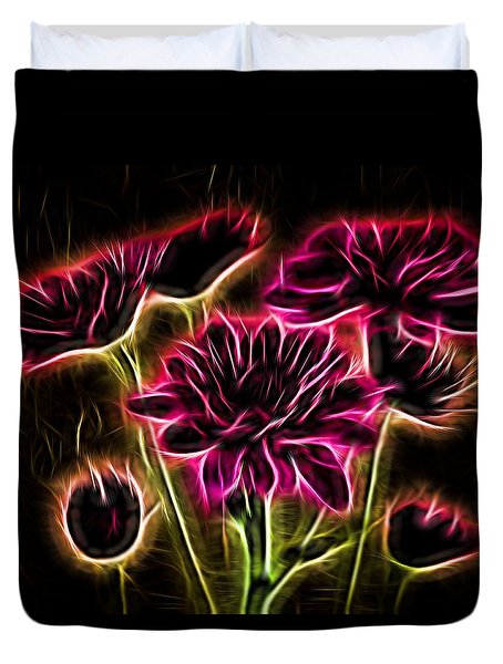 Glowing Bouquet Duvet Cover by Judy Vincent