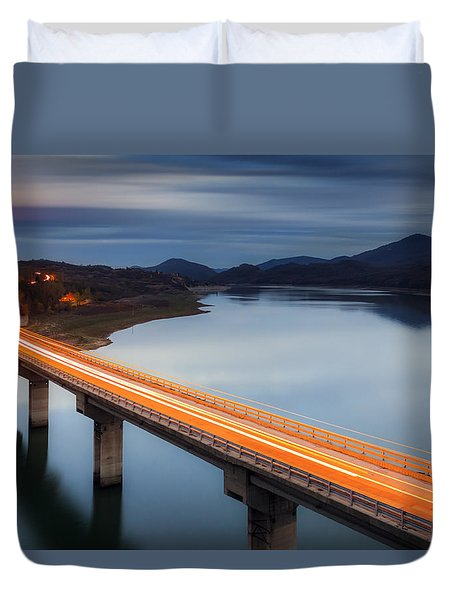 Glowing Bridge Duvet Cover