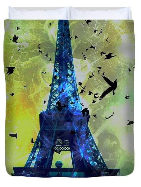 Glowing Eiffel Tower Duvet Cover