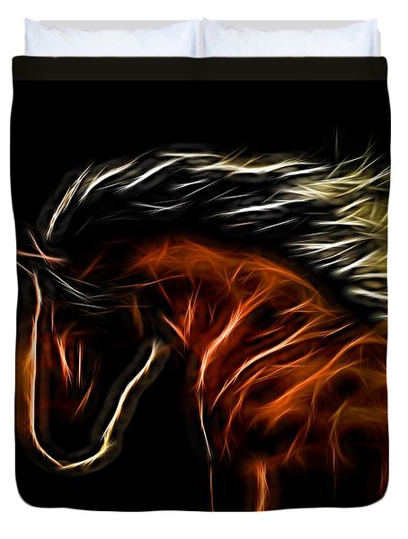 Glowing Horse Duvet Cover by Daniel Eskridge