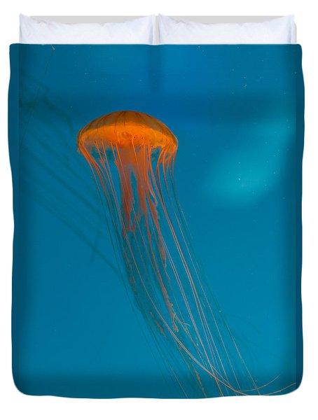 Glowing Orange Sea Nettle Duvet Cover