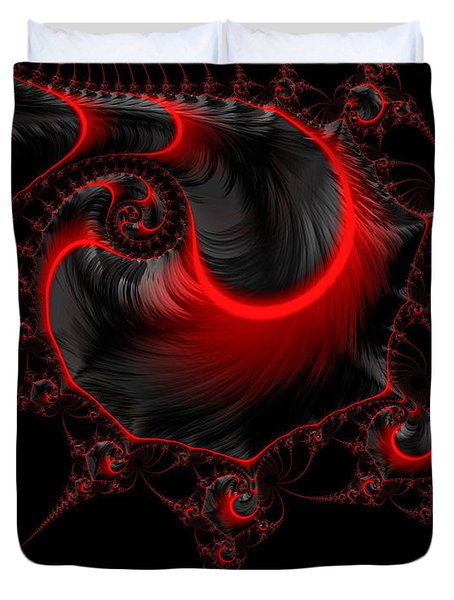 Glowing Red And Black Abstract Fractal Art Duvet Cover