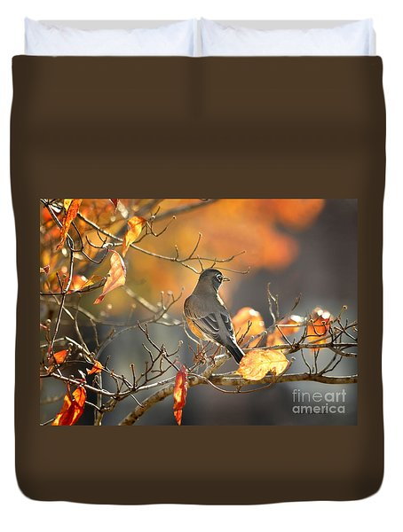 Glowing Robin 2 Duvet Cover
