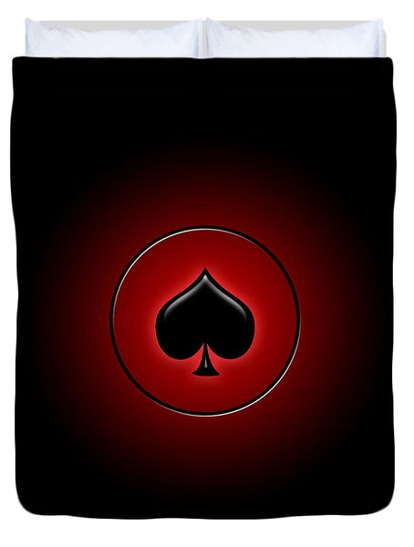 Glowing Spade Card Suit Duvet Cover by Gaspar Avila