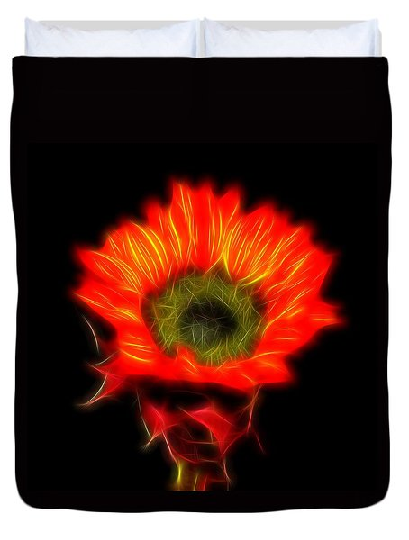 Glowing Sunflower Duvet Cover by Judy Vincent
