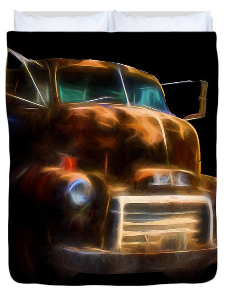 Duvet Cover featuring the digital art Gmc Truck Mid Century 1950s by Cathy Anderson