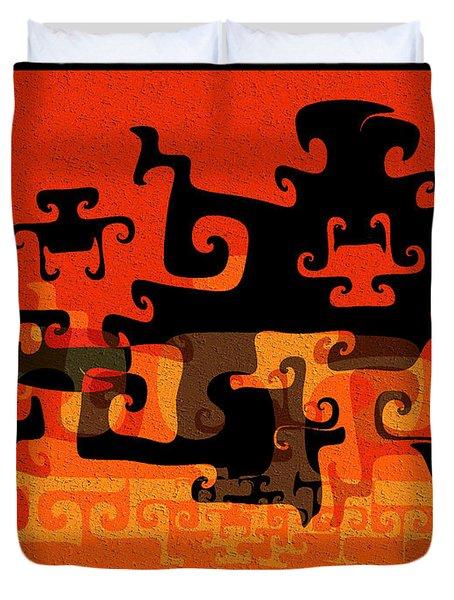 Gnarly Silhouette Parade Duvet Cover