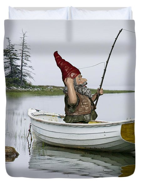 Gnome Fisherman In A White Maine Boat On A Foggy Morning Duvet Cover