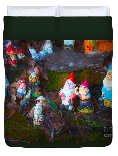 Duvet Cover featuring the photograph Gnomes On The Range by Cassandra Buckley