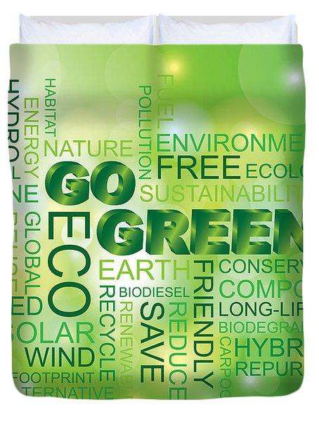 Go Green Word Cloud Green Background Duvet Cover