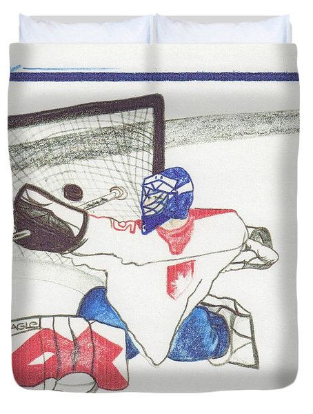 Duvet Cover featuring the drawing Goalie By Jrr by First Star Art