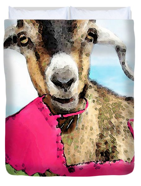 Goat Art - Oh You're Home Duvet Cover by Sharon Cummings
