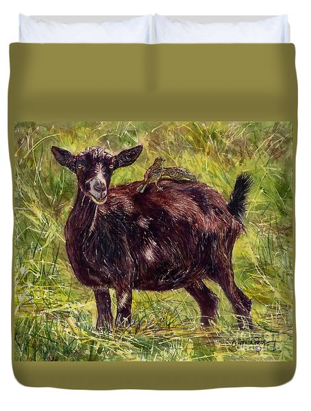 Goat Piggybackers Duvet Cover