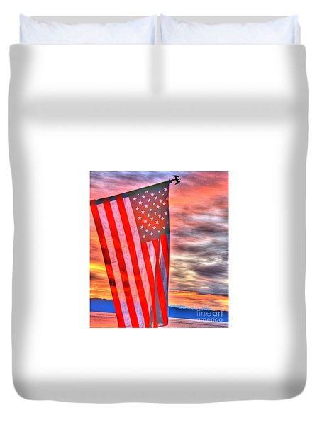 God Bless America Over Puget Sound Duvet Cover