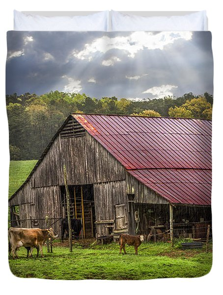God Bless The Farmer Duvet Cover by Debra and Dave Vanderlaan
