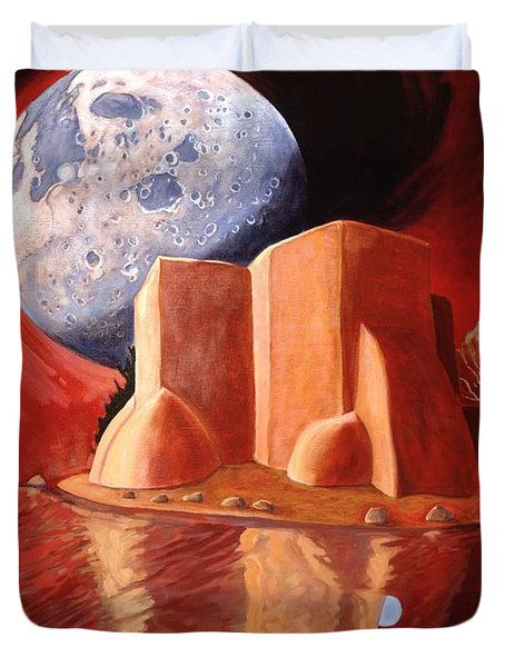 Duvet Cover featuring the painting God Is In The Moon by Art James West