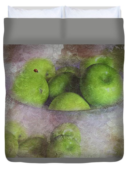 God Made Little Green Apples Duvet Cover by Diane Schuster