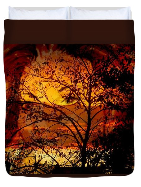 Goddess At Sunset Duvet Cover by Leanne Seymour